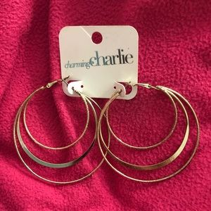 CHARMING CHARLIE Gold 3 Tier Hoop Earrings